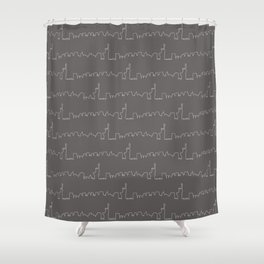 New York Skyline // Charcoal Grey Shower Curtain