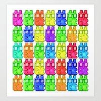 Pixel Gummy Bears Art Print