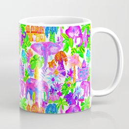 Indian Elephants in Tropical Watercolor Coffee Mug