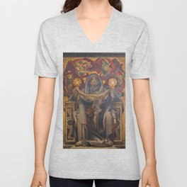 Classical Masterpiece Church Mural by John Singer Sargent Unisex V-Neck
