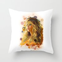 jennifer lawrence Throw Pillows featuring Jennifer Lawrence II by Rene Alberto