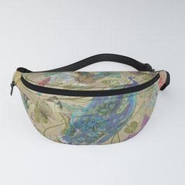 Vintage Ivory Green Blue Pink Peacock Collage Fanny Pack