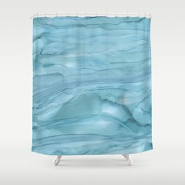 Ice Blue Marble Shower Curtain