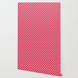 Amaranth Red and White Polka Dot Pattern Wallpaper