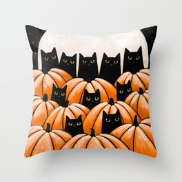 Black Cats in the Pumpkin Patch Throw Pillow