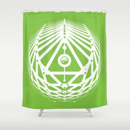 Radiant Abundance (green-white) Shower Curtain