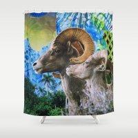 ram Shower Curtains featuring Ram by John Turck