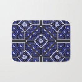 Cherokee Rose Pattern 2 royal blue and black Bath Mat
