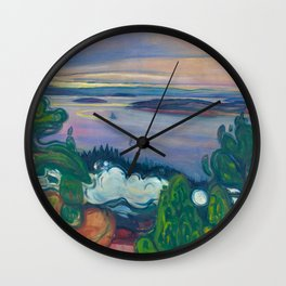 Mountains and Islands - Smoke from a Train Early Morning Sunrise landscape painting by Edvard Munch Wall Clock