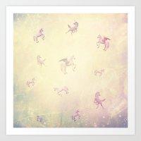 unicorns Art Prints featuring Unicorns by Bloody Diamonds Shop