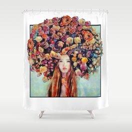 Flower Head Girl Design Shower Curtain