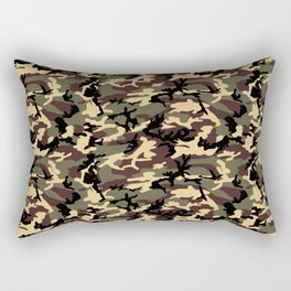Green Brown Camouflage Pattern Rectangular Pillow