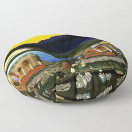 Sicily, Ruins of the Greek Theater at Taormina by Csontvary Kosztka Tivadar Floor Pillow