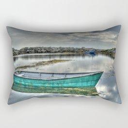 Blue Rocks Green Boat Rectangular Pillow