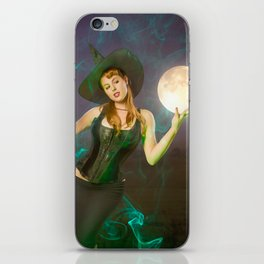 """""""Moonlighting"""" - The Playful Pinup - Halloween Witch Pin-up Girl by Maxwell H. Johnson iPhone Skin"""