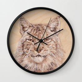 Lynx Portrait - Drawing by Burning on Wood - Pyrography Art Wall Clock