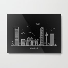 Madrid Minimal Nightscape / Skyline Drawing Metal Print