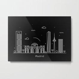 Madrid Minimal Nightscape / Skyline Drawing Metal Print