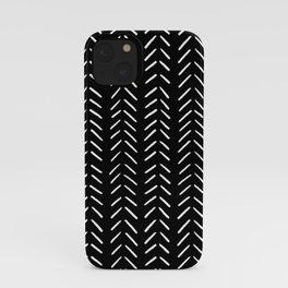 Minimalist Hand Drawn Herringbone Pattern (white/black) iPhone Case