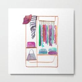 Watercolour Clothing Rack Metal Print