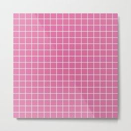 Thulian pink - violet color - White Lines Grid Pattern Metal Print