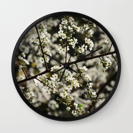 Early Spring White Blossoms Wall Clock