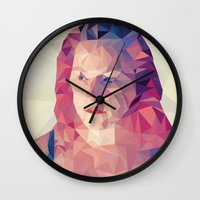 wasted rita Wall Clocks featuring Rita by Luis Marques