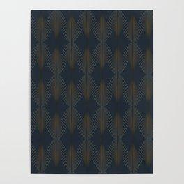 Art Deco Gold/Navy Pattern II Poster
