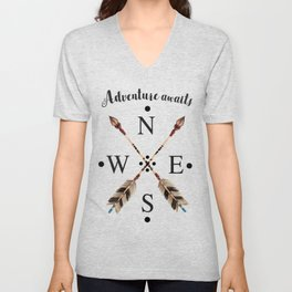 Cardinal directions Compass Arrows Adventure awaits Typography Unisex V-Neck