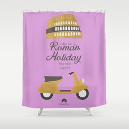 Roman Holiday, Audrey Hepburn,movie poster, Gregory Peck, William Wyler, romantic hollywood film Shower Curtain