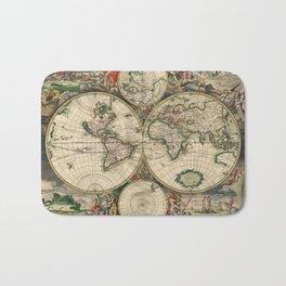 Ancient Map of the World - 1689 Bath Mat