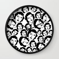 women Wall Clocks featuring Women by Emmanuelle Ly