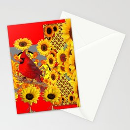 RED CARDINAL BIRD YELLOW SUNFLOWERS  ABSTRACT Stationery Cards