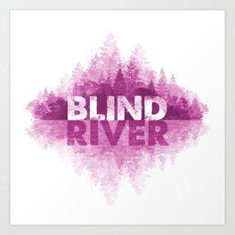 Blind River Trees (pink) Art Print