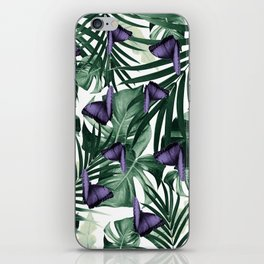 Tropical Butterfly Jungle Leaves Pattern #4 #tropical #decor #art #society6 iPhone Skin