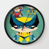 x men Wall Clocks featuring X Men fan art by danvinci