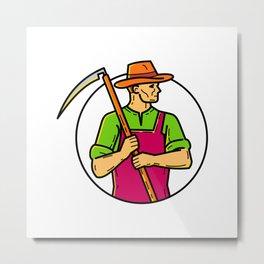 Organic Farmer Scythe Mono Line Art Metal Print