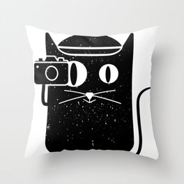 Cat & Camera Throw Pillow