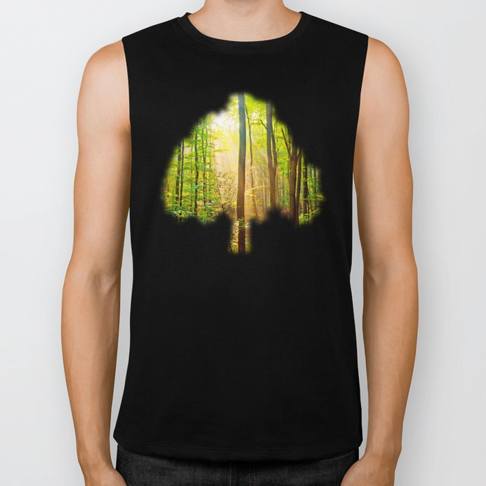 Sunbeams in the forest Biker Tank