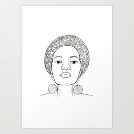 Beautiful Afro woman with earrings Art Print