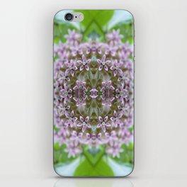 Kaleidoscope Pink Milkweed Flower Macro Photograph iPhone Skin