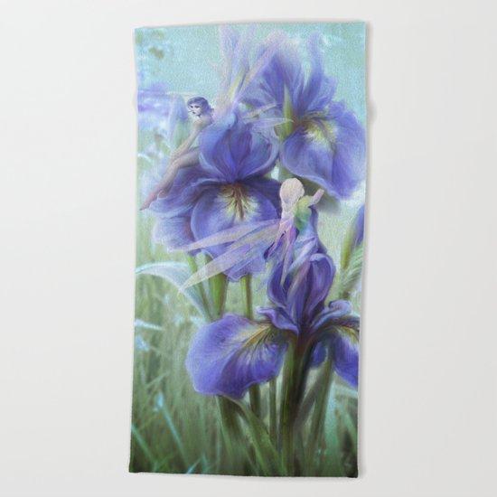Imagine - Fantasy iris fairies Beach Towel