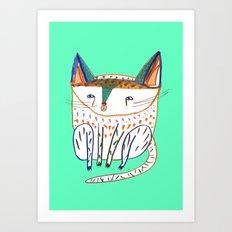 cat illustration, cats art, cat decor Art Print