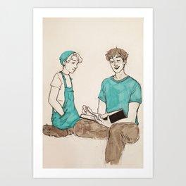 Adam and Opal reading Art Print
