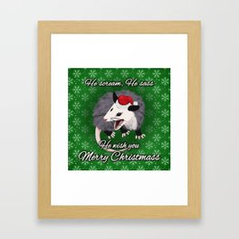 Christmas Opossum Framed Art Print