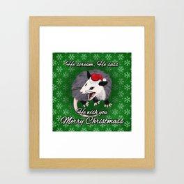 Christmas Opossum Framed Art Print
