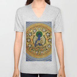 Blue Meditation Tibetan Buddhist Thangka Unisex V-Neck