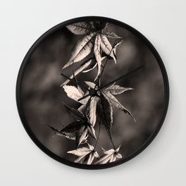 Japanese Maple Leaves in Sepia Wall Clock