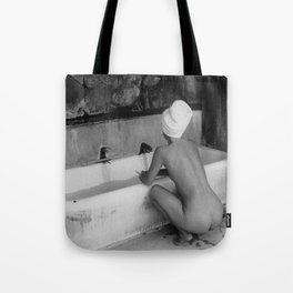 Bath in Paris, Cold Water Flat, Female Nude black and white art photography / photograph Tote Bag