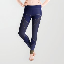 Indigo and Taupe Abstract Leggings